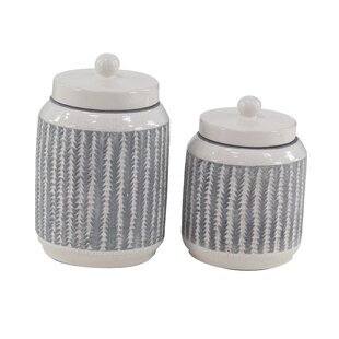 Modern Ribbed Stoneware 2 Piece Storage Jar Set