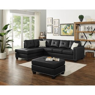 Burdett Modern Reversible Sectional with Ottoman