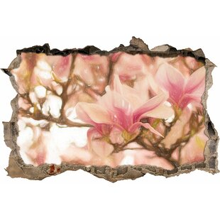 Pink Magnolia Blossoms In Spring Wall Sticker By East Urban Home