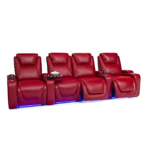 Leather Home Theater Row Seating (Row of 4 with Middle Loveseat) ByLatitude Run