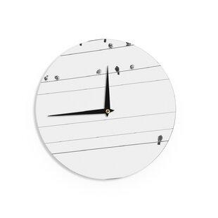 qing ji birds on wire 12 wall clock wall clocks with birds wayfair