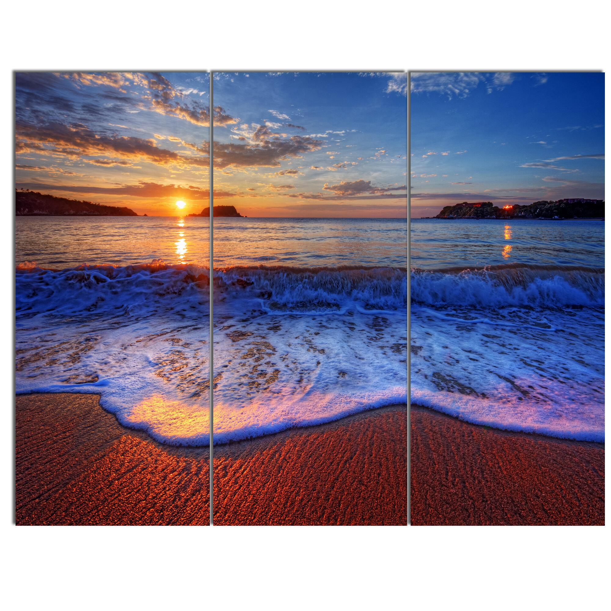 Designart Blue Waves On Sandy Beach 3 Piece Photographic Print On Wrapped Canvas Set Wayfair