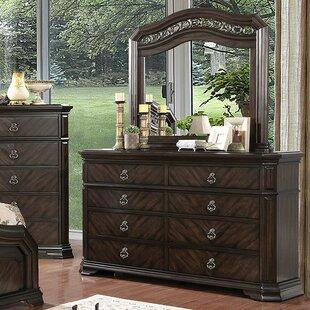 Astoria Grand Fye 8 Drawer Double Dresser with Mirror