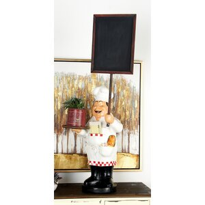 Polystone and Wood Chef Tabletop Chalkboard