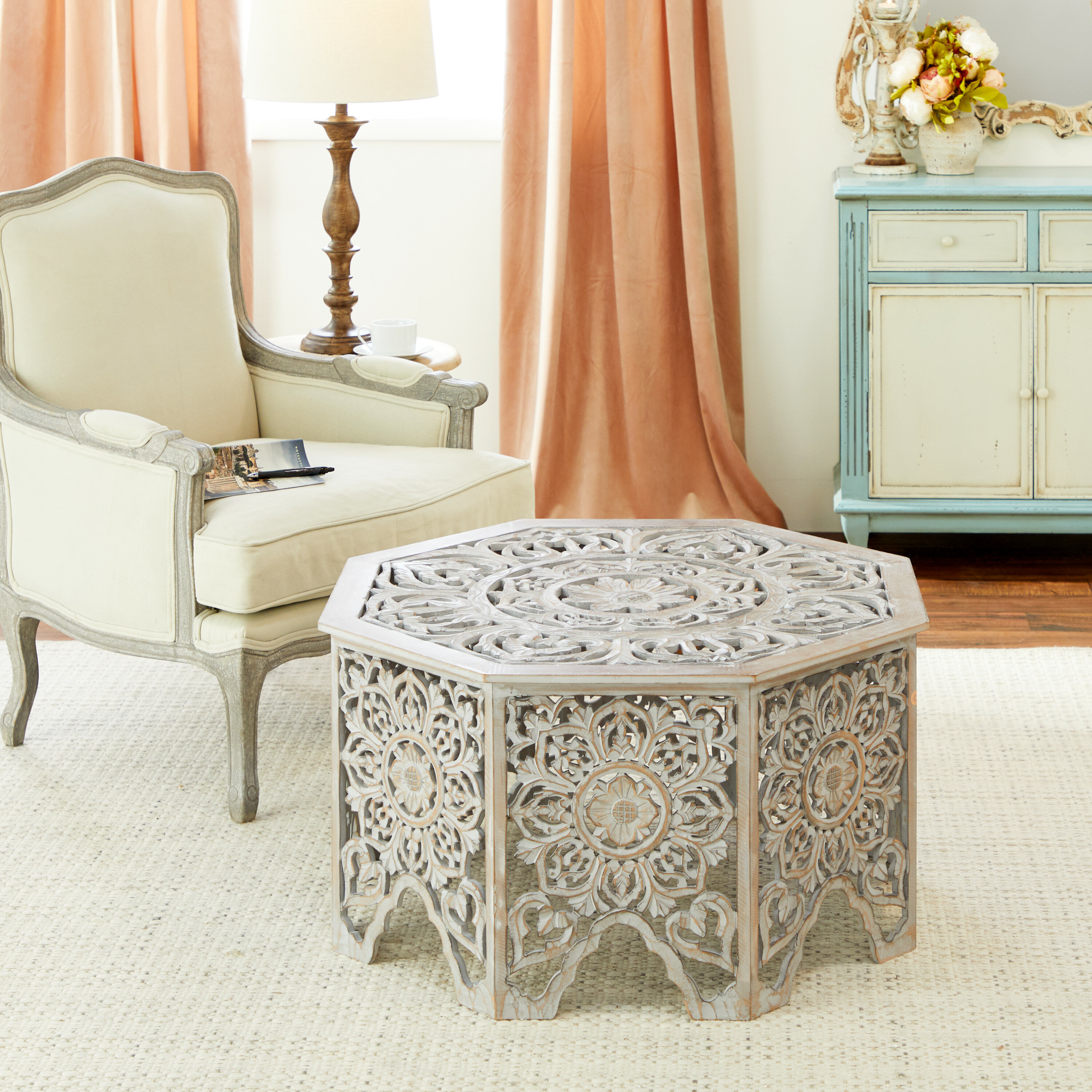 - Bungalow Rose Gray-Washed Decorative Carved Wood Coffee Table, 33