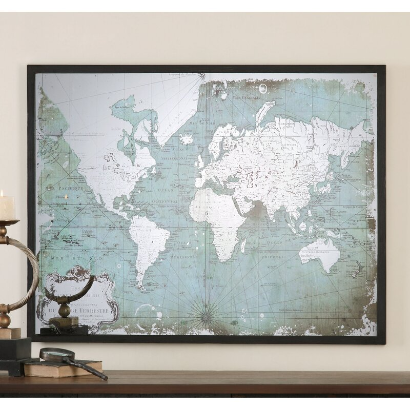 Bloomsbury Market \'Mirrored World Map\' Framed Graphic Art | Wayfair