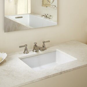 Ceramic Impressions Ceramic Rectangular Undermount Bathroom Sink with Overflow