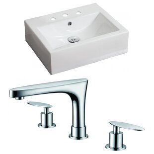Check Prices Ceramic Rectangular Vessel Bathroom Sink with Faucet and Overflow ByAmerican Imaginations