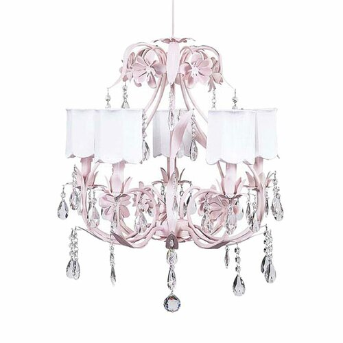 Jubilee Collection 830002-2709 2 Arm Pink Pearl Dot Chandelier Shade on Wall Sconce with White Turret