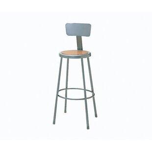 Height Adjustable Steel Hardboard Round Seat Stool with Backrest by Nexel