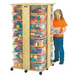 Tower Double Sided 32 Compartment Cubby with Casters