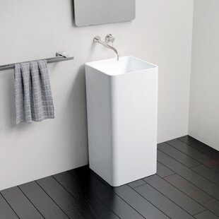 Reviews Polymarble 16 Pedestal Bathroom Sink By Badeloft