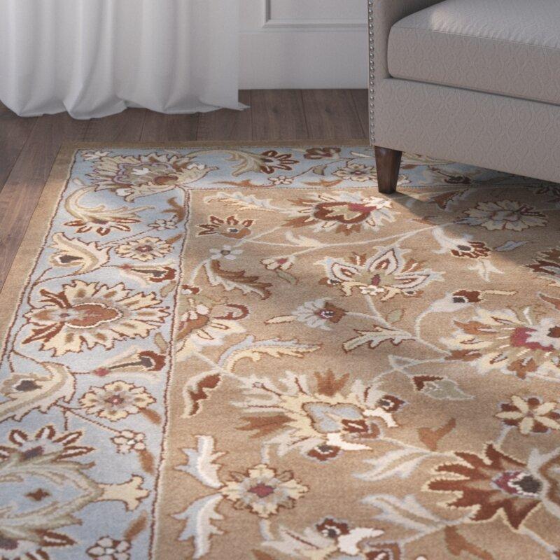 Charlton Home Cranmore Hand Tufted Wool Beige Blue Area Rug Reviews Wayfair