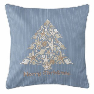 holiday seashell christmas tree throw pillow