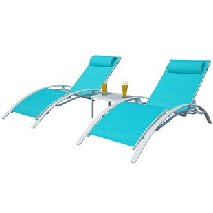 Ebern Designs Travon Elegant Patio Adjustable Reclining Chaise Lounge (Set of 2)