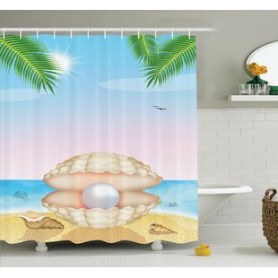 Shell on Beach Shower Curtain Set