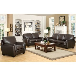 Whitstran 3 Piece Leather Living Room Set by Darby Home Co SKU:DE330078 Price Compare