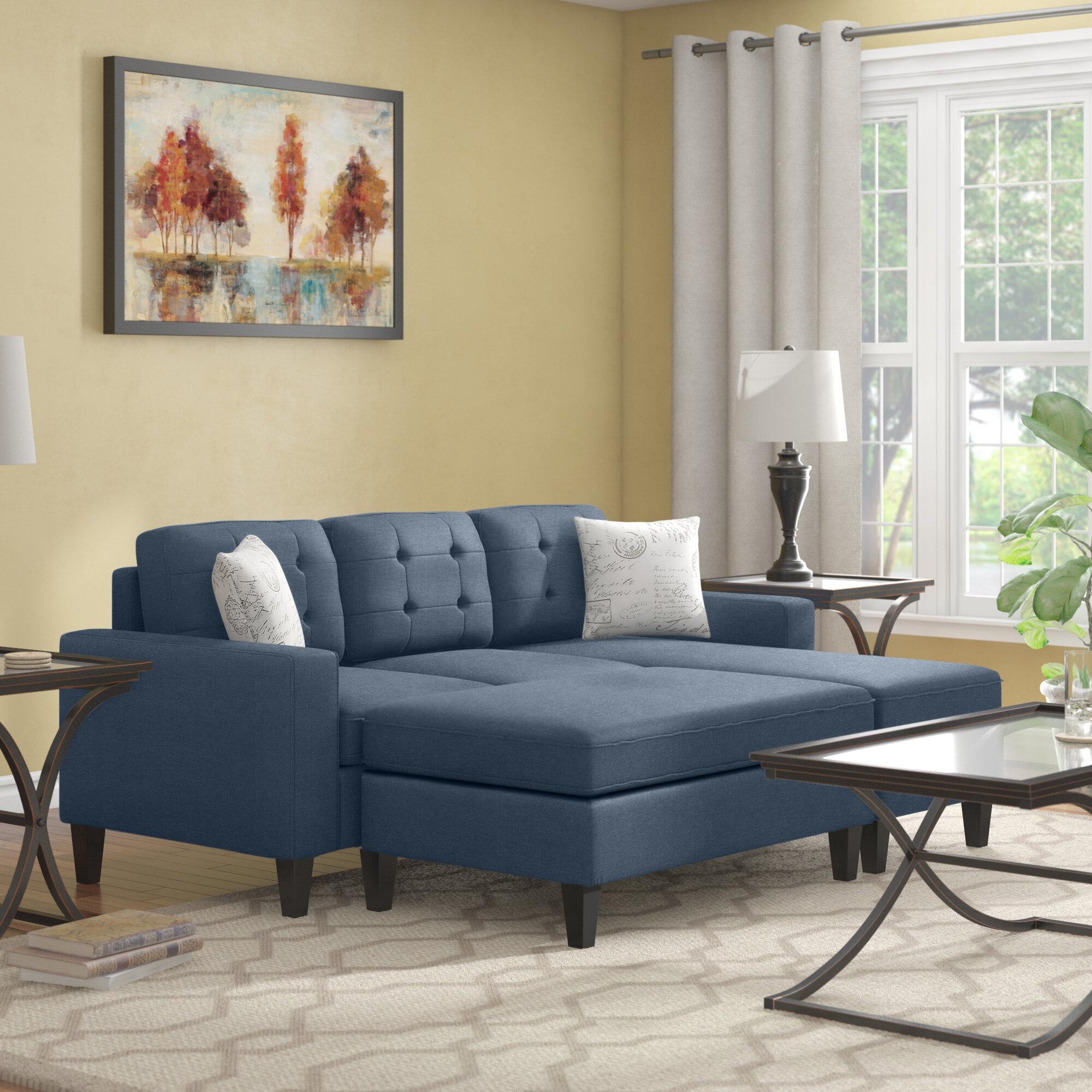 Ebern Designs Ellensburg 81 Reversible Sleeper Sectional With Ottoman Reviews Wayfair