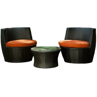 Aura Outdoor Products 3 Piece Rattan Sunbrella Conversation Set with Cushions