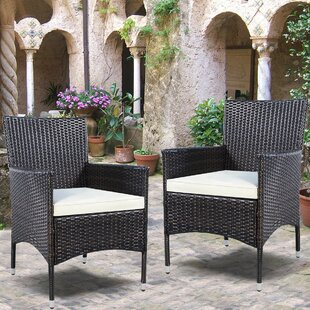 Duchesne Outdoor Wicker Patio Dining Chair with Cushion (Set of 2)
