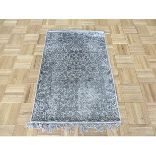 Top One-of-a-Kind Paden Hand-Knotted Rayon from Bamboo Silk Gray Area Rug ByBloomsbury Market