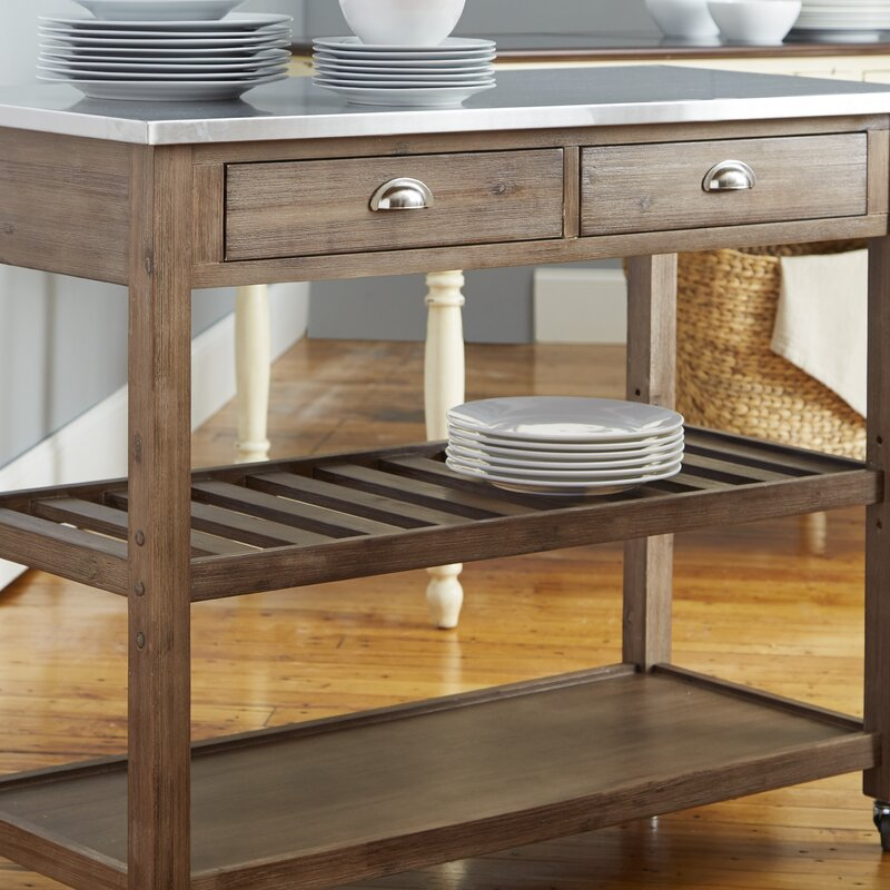 Weldona Kitchen Cart With Stainless Steel Top