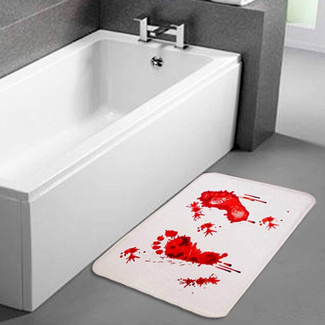 Latitude Run Halloween Bloody Footprints Bath Mat Flannel Doormat Thrilling Shower Mat Non Slip Carpet 2pcs Wayfair Ca