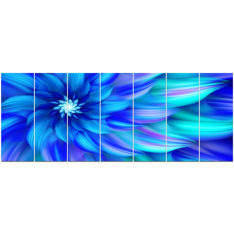 Designart Massive Blue Fractal Flower Graphic Art Print Multi Piece Image On Canvas Wayfair