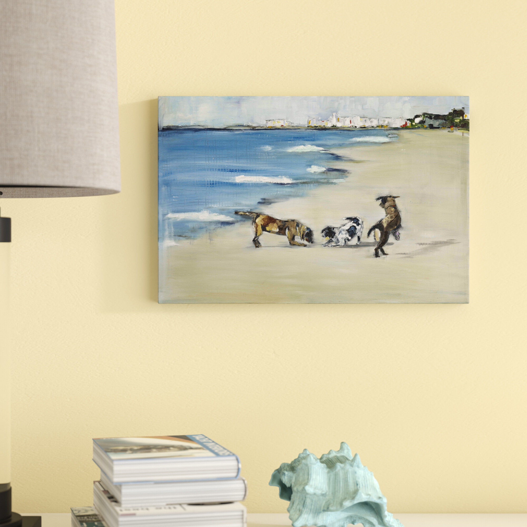 Three Posts \'Dogs? Play\' Painting Print on Wrapped Canvas & Reviews ...