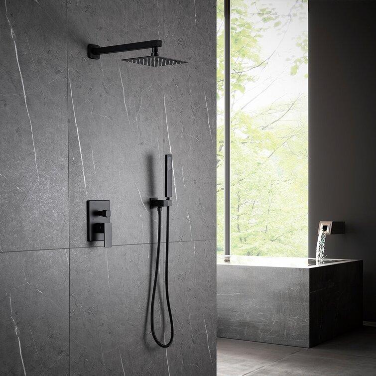 "12/""Black Rain Shower Combo Kit Set LED Shower Head System Wall Mount Mixer Valve"