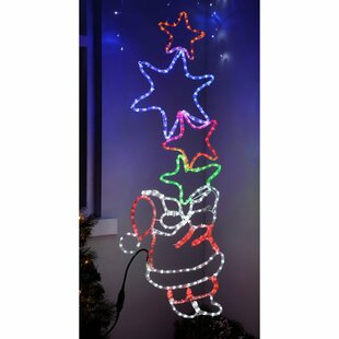 Santa Holding 4 Stars LED Rope Lighted Display By The Seasonal Aisle