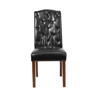Tequesta Tufted Upholstered Parsons Chair in Black by Winston Porter