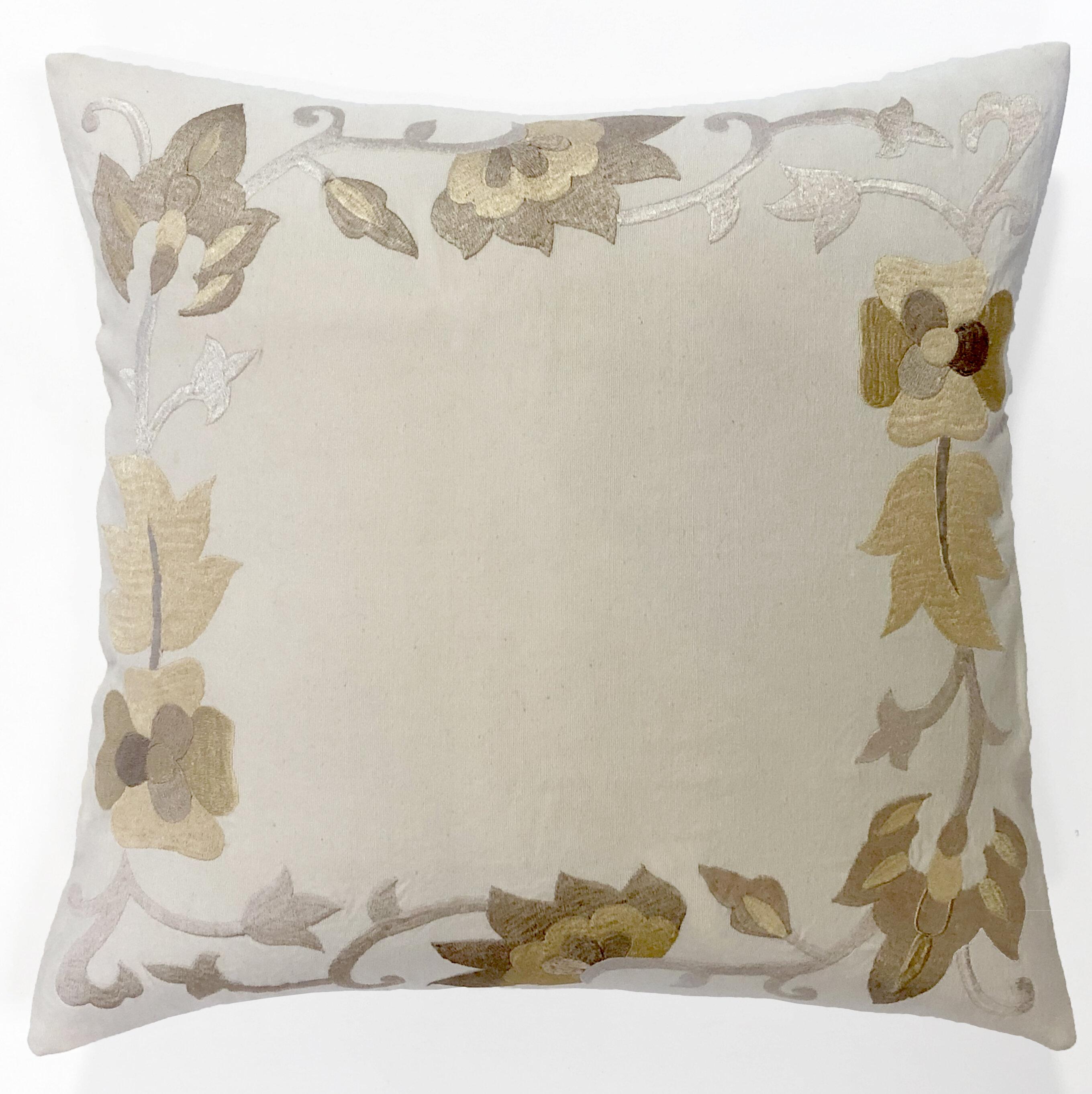 Alcott Hill Pfannenstiel Floral Border Cotton Euro Pillow Wayfair