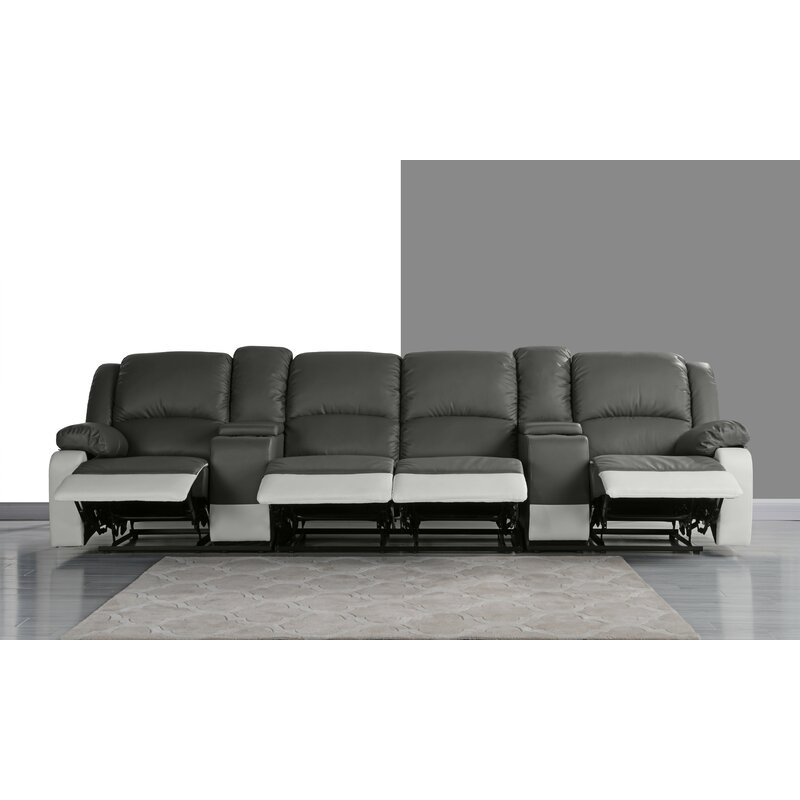 Red Barrel Studio 4 Seat Home Theater Sofa With Cup Holder Reviews Wayfair