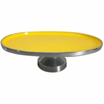 """Latitude Run Steinbach Oval Shaped Aluminum Footed Platter  Size: 5.3"""" H x 10.8"""" W x 15.8"""" D, Color: Yellow"""