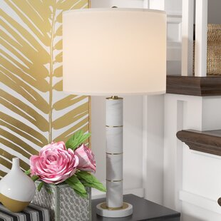 Everly Quinn Rufina Marble Column 30'' Table Lamp