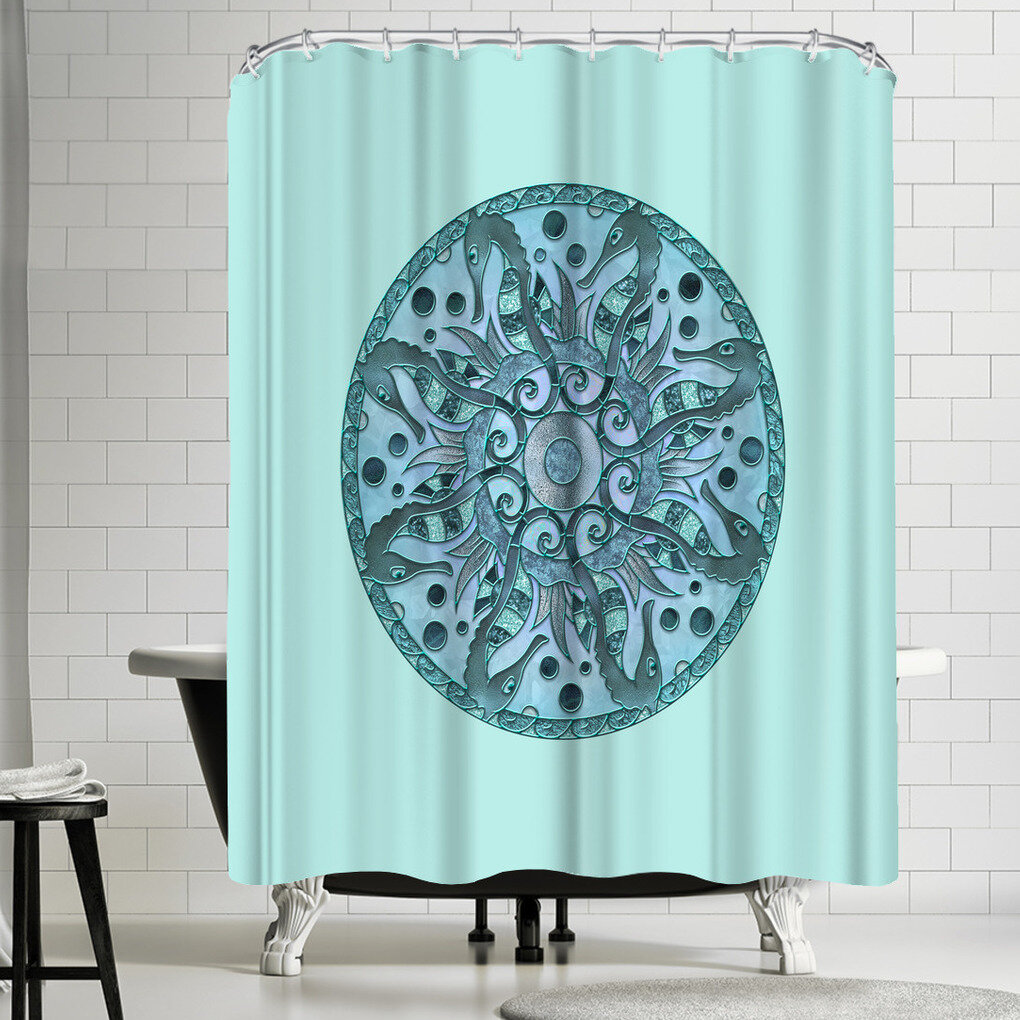 East Urban Home Lebens Art Sea Horse Mandala Shower Curtain Wayfair