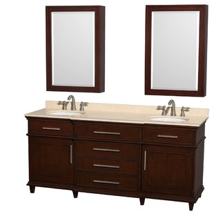 Berkeley 72 Double Dark Chestnut Bathroom Vanity Set with Medicine Cabinet