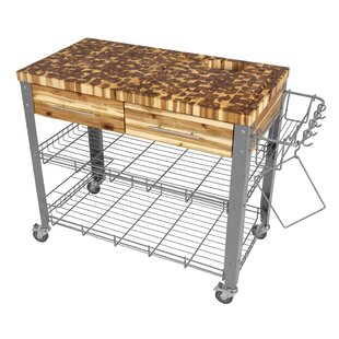 Zephyrine Kitchen Cart with Butcher Block Top Millwood Pines
