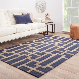 Avery Deep Navy / Beige Geometric Area Rug