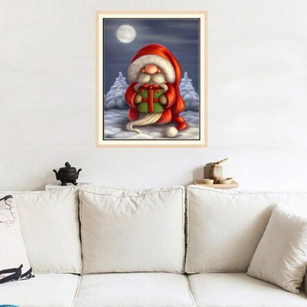 Santa Claus 5d Diy Diamond Painting Cross Stitch Kit Full Round Resin Diamond Covered Paint By Number Kits For Adults Amd Kids