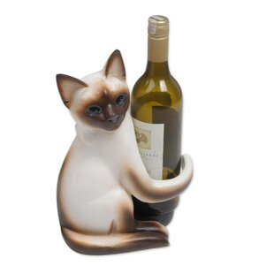 Mccallum Siamese Cat Hug Tabletop Wine Ra..