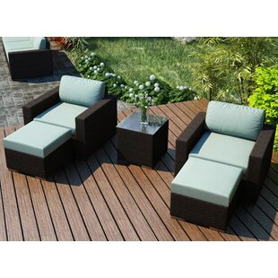 Hodge 5 Piece Teak Seating Group with Sunbrella Cushions