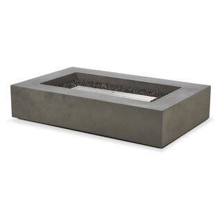 Freeport Park Dalia Low Rectangle Concrete Bio-Ethanol Fire Pit Table