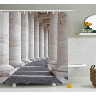 Heather Ancient Theme Roman Columns Stone Old Architecture Digital Image Single Shower Curtain