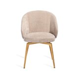 Amara Upholstered Metal Arm Chair in Beige Latte by Interlude