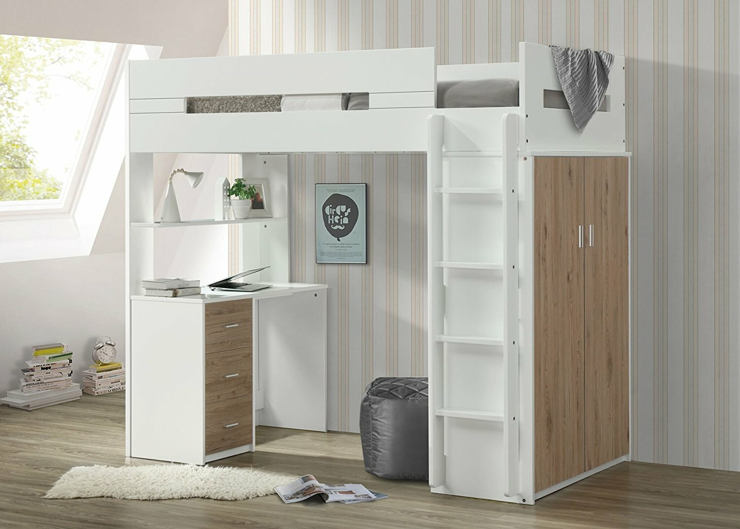 Adne Wooden Twin Loft Bed With Drawers And Desk Shelf And Wardrobe