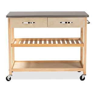 Doucette Wood 2-Drawer Utility Storage Kitchen Island Stainless Steel