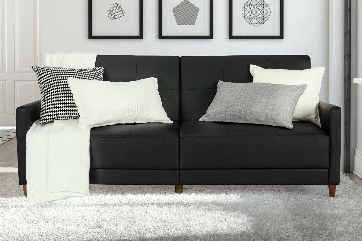 Benitez Sofa. Black Off-White