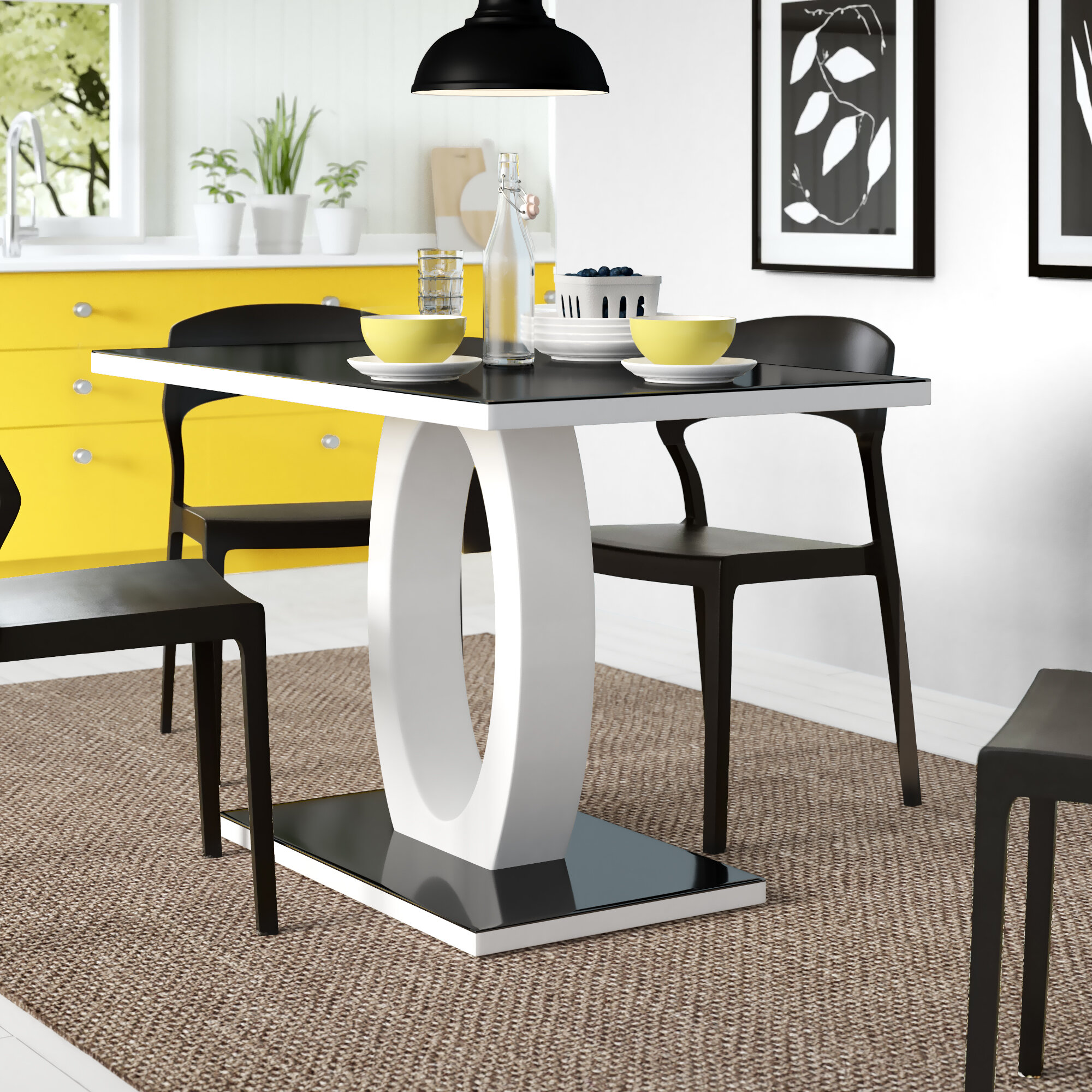 Picture of: Metro Lane Samirah High Gloss Glass Dining Table Reviews